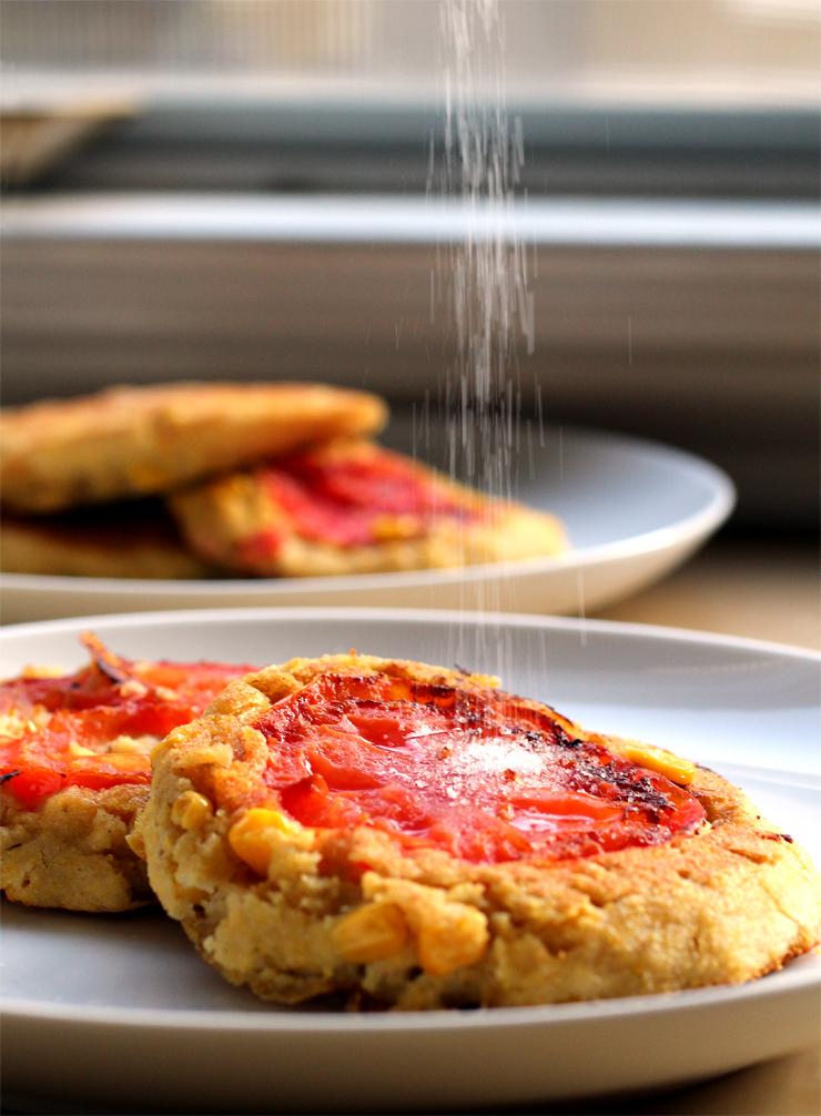 Sweet Corn & Tomato Pancakes (vegan, gf) // The Pancake Princess