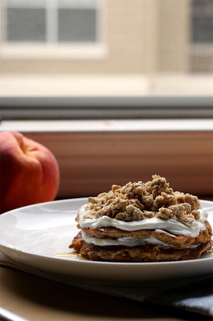 Peach Streusel Pancakes // The Pancake Princess