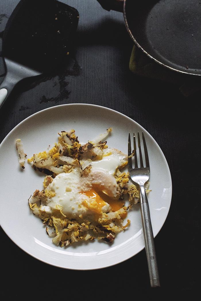 Sesame-Almond Cabbage Egg Nests // The Pancake Princess