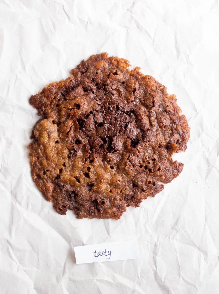 tasty browned coconut oil vegan chocolate chip cookie
