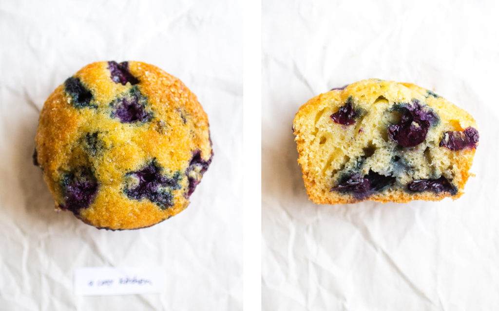 a cozy kitchen blueberry muffin
