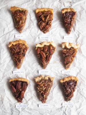 nine slices pecan pie