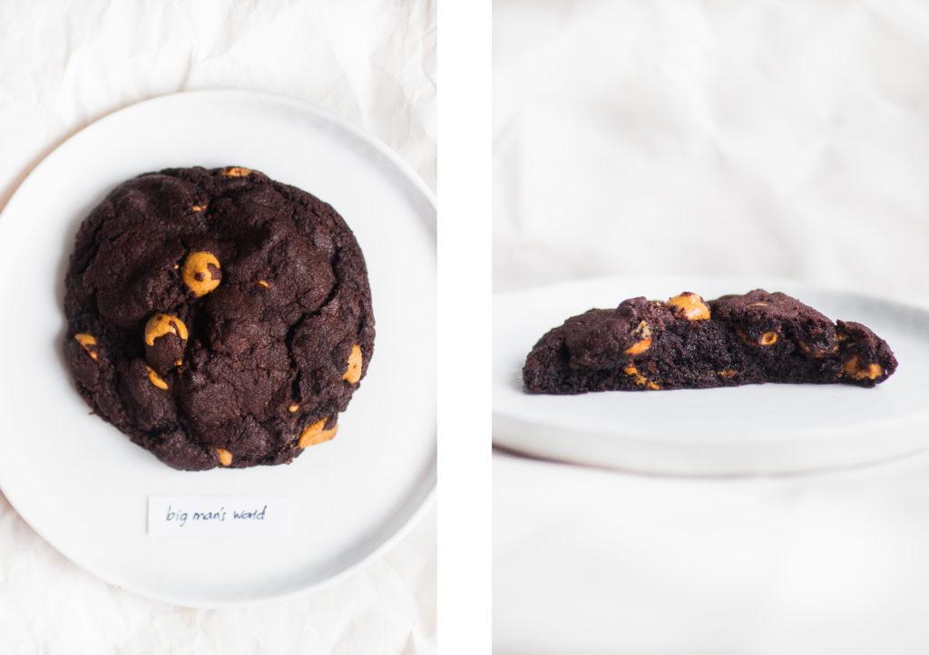 levain dark chocolate peanut butter cookie big man's world