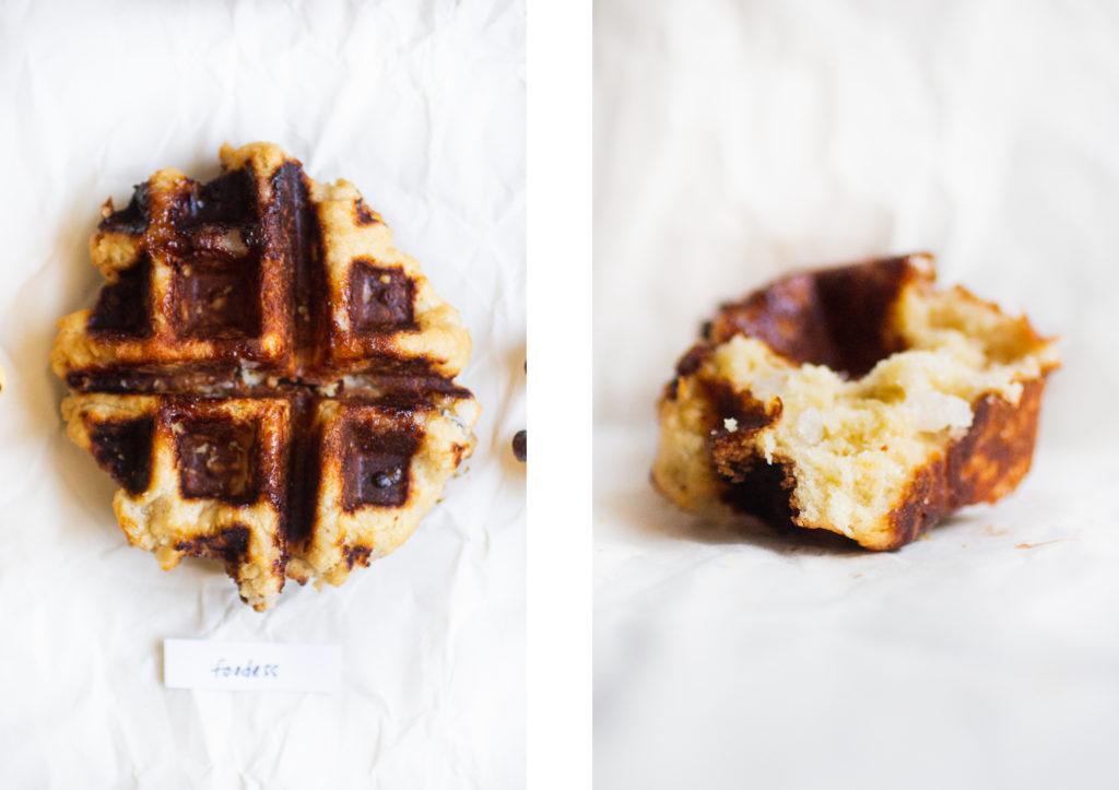 overhead shot of liege waffle next to a piece of a liege waffle