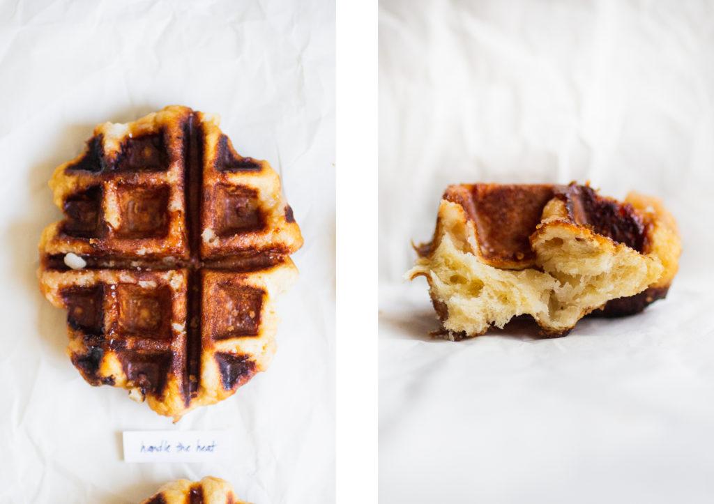 liege waffle next to a liege waffle interior