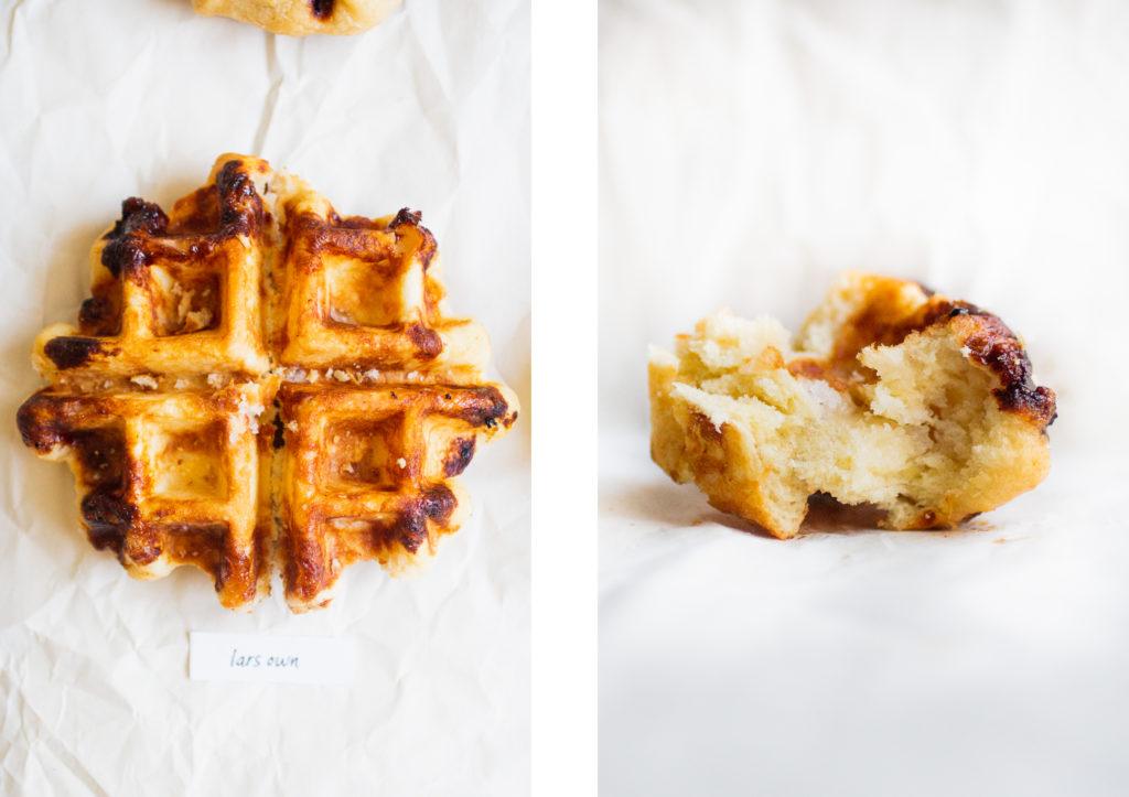 liege waffle next to an interior shot of a liege waffle