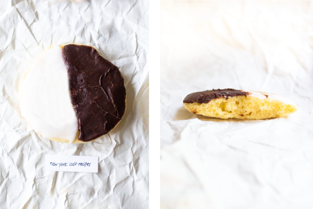 collage of a black and white cookie and an interior shot of the cookie